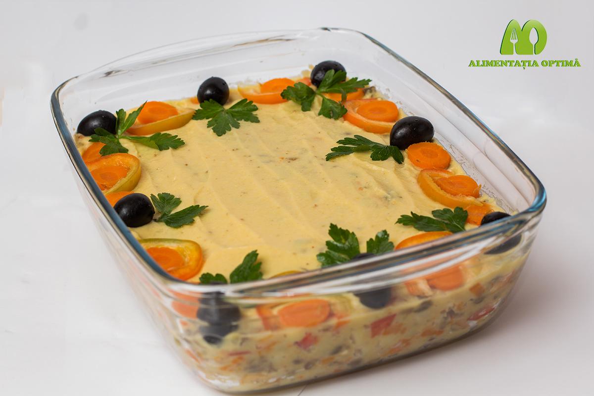 Salată de legume cu maioneză de mazăre galbenă